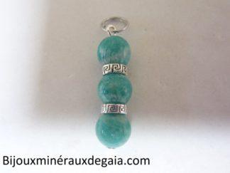 Pendentif Amazonite perles rondes 8 mm