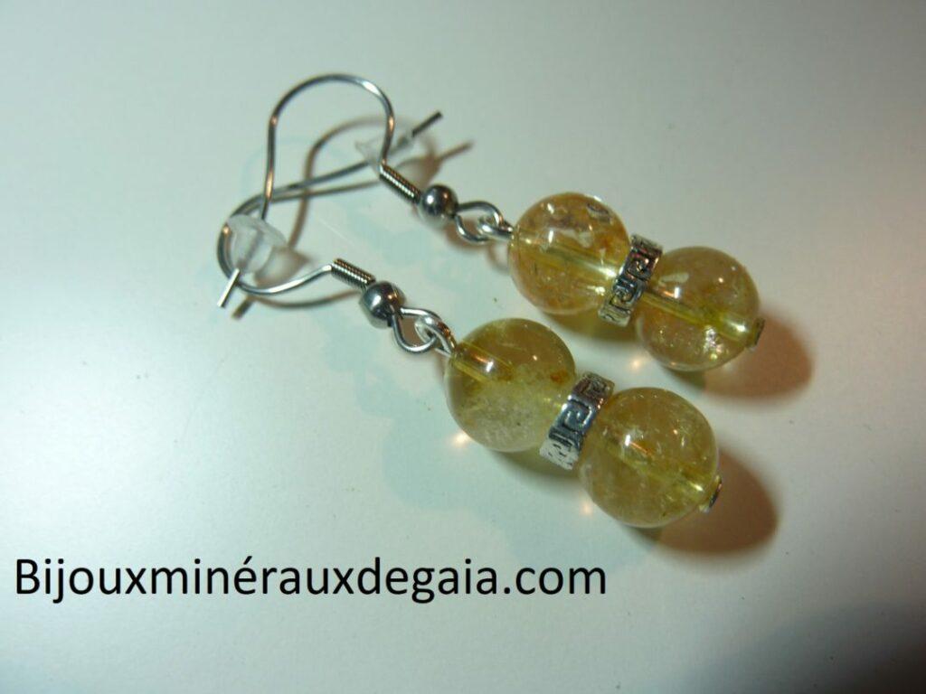 Boucles d'oreilles citrine véritable perles rondes 8 mm