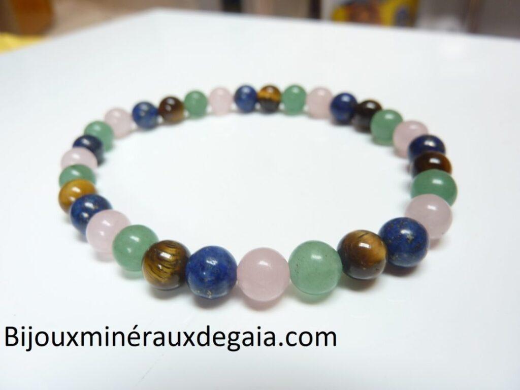 Bracelet Oeil de tigre-aventurine-lapis lazuli-quartz rose
