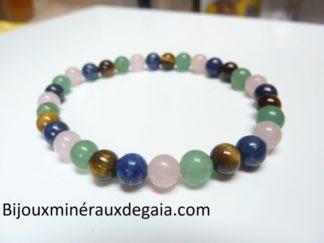 Bracelet Oeil de tigre,aventurine,lapis lazuli,quartz rose
