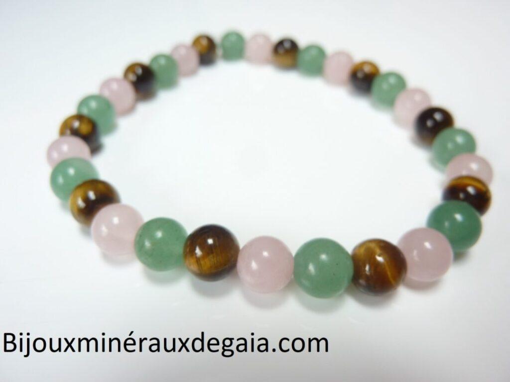 Bracelet Oeil de tigre-aventurine-quartz rose