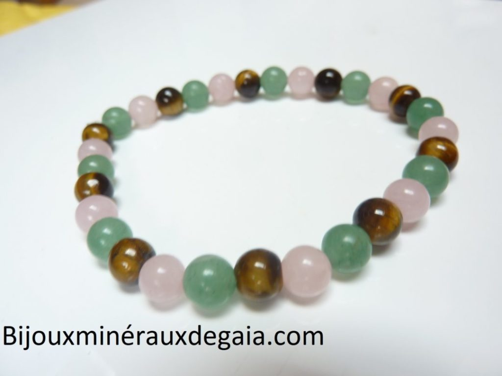Bracelet Oeil de tigre,aventurine,quartz rose