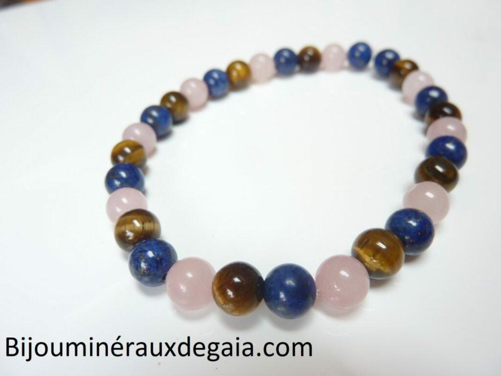 Bracelet Oeil de tigre-lapis lazuli-quartz rose