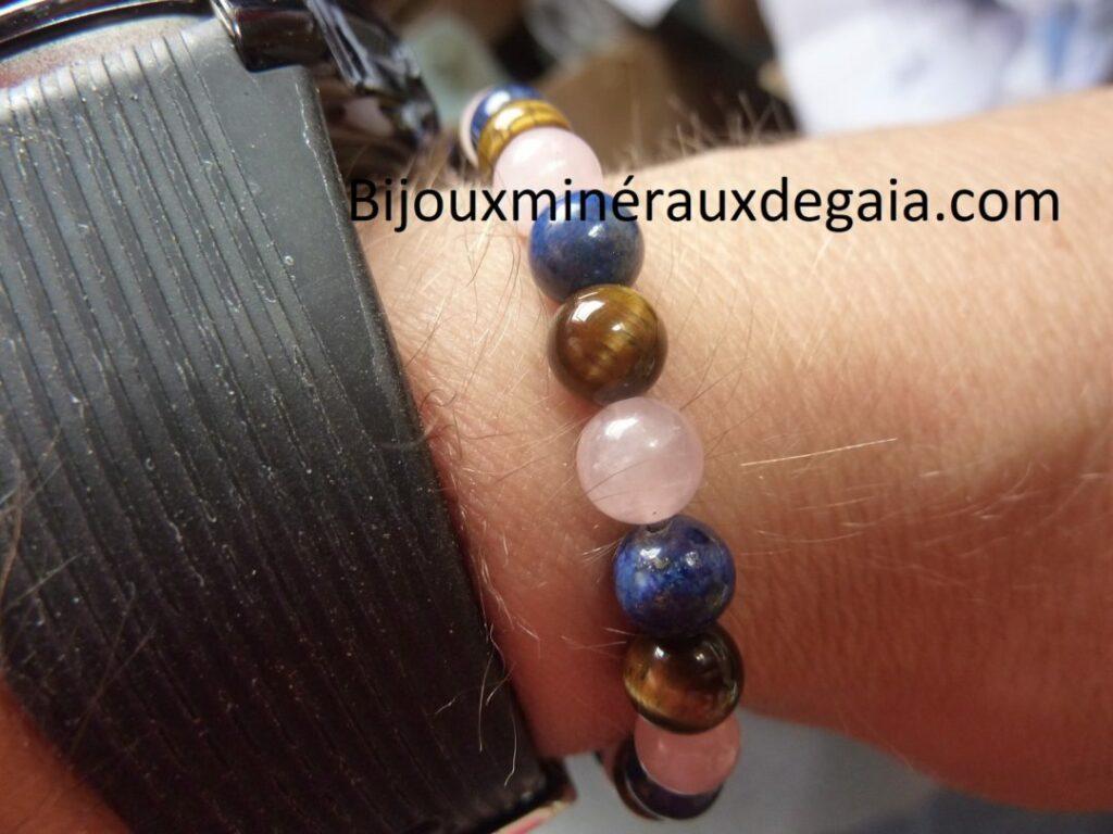 Bracelet Oeil de tigre,lapis lazuli,quartz rose