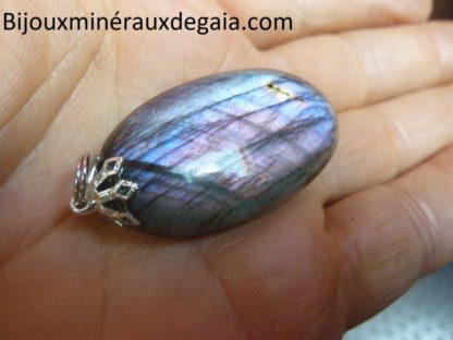 Pendentif Labradorite violet 17 gr très rare! ref 0383