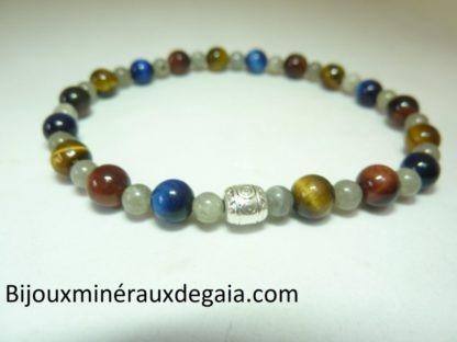 Bracelet Oeil de tigre-faucon-taureau-labradorite-perles rondes 6-4 mm
