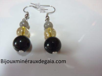 Boucles d'oreilles Labradorite-obsidienne oeil céleste-citrine
