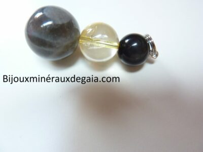 Pendentif Labradorite-obsidienne oeil céleste-citrine