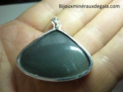 Pendentif obsidienne oeil céleste monture argent 925 r 6574