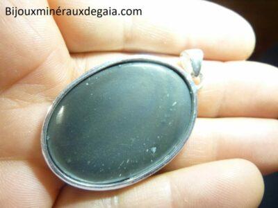 Pendentif obsidienne oeil celeste monture argent 925 r 7954