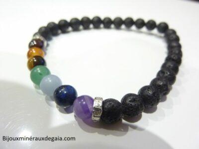 Bracelet chakras Pierre de lave-Perles rondes 6 mm