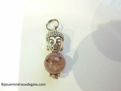 Pendentif Cacoxénite super seven Bouddha très rare