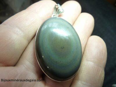 Pendentif obsidienne oeil celeste monture argent 925 ref 5222