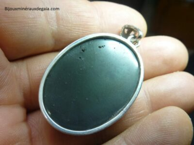 Pendentif obsidienne oeil celeste monture argent 925 ref 4344