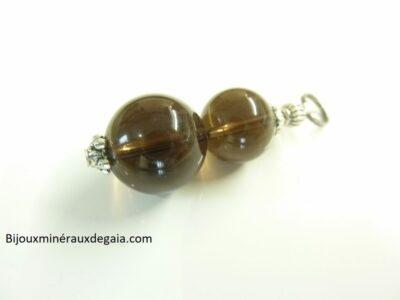 Pendentif quartz fumé - Perles rondes 14-12 mm