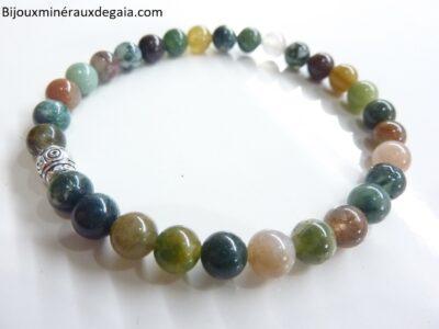Bracelet agate Indienne – Perles rondes 6 mm