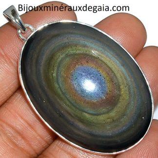 Pendentif protection obsidienne oeil celeste monture argent 925 ref 6558