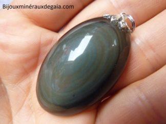 Pendentif protection obsidienne oeil celeste ref 3712