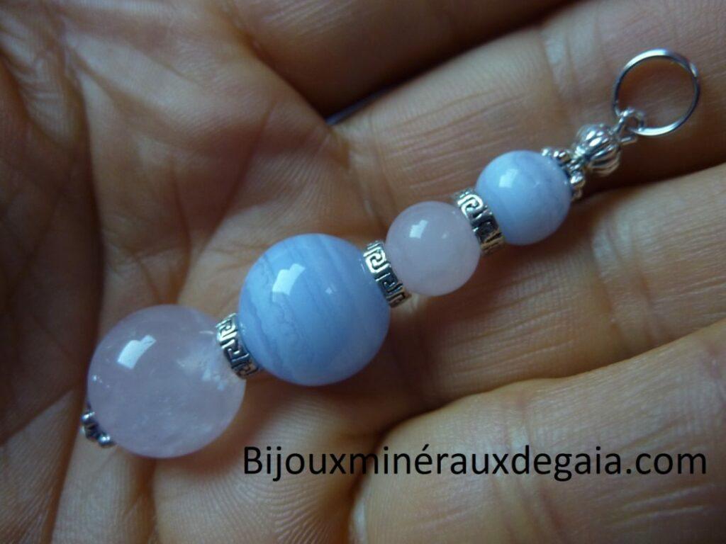 Pendentif calcédoine bleue-Quartz rose rupture amoureuse