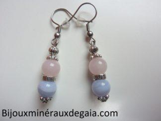 Boucles d'oreilles calcédoine bleue-Quartz rose rupture amoureuse
