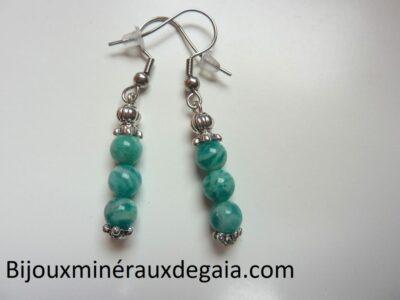 Boucles d'oreilles Amazonite perles rondes 6 mm