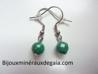 Boucles d'oreilles Amazonite perles à facettes 7,5 mm