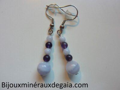 Boucles d'oreilles calcédoine bleue-Améthyste