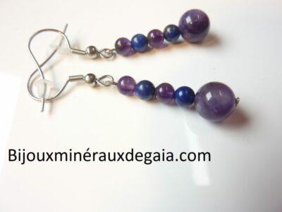 Boucles d'oreilles Améthyste-Lapis lazuli