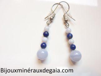 Boucles d'oreilles calcédoine bleue-Lapis lazuli