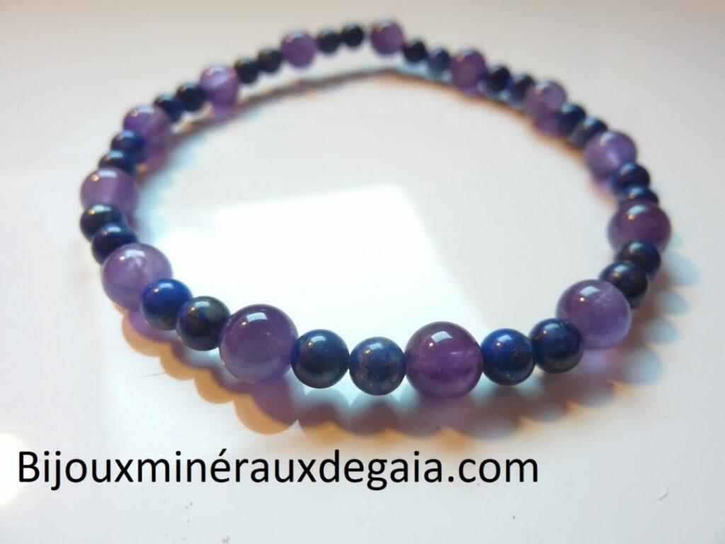 Bracelet Améthyste-Lapis lazuli perles rondes 6-4 mm