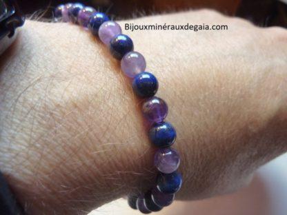 Bracelet Améthyste-Lapis lazuli perles rondes 6 mm