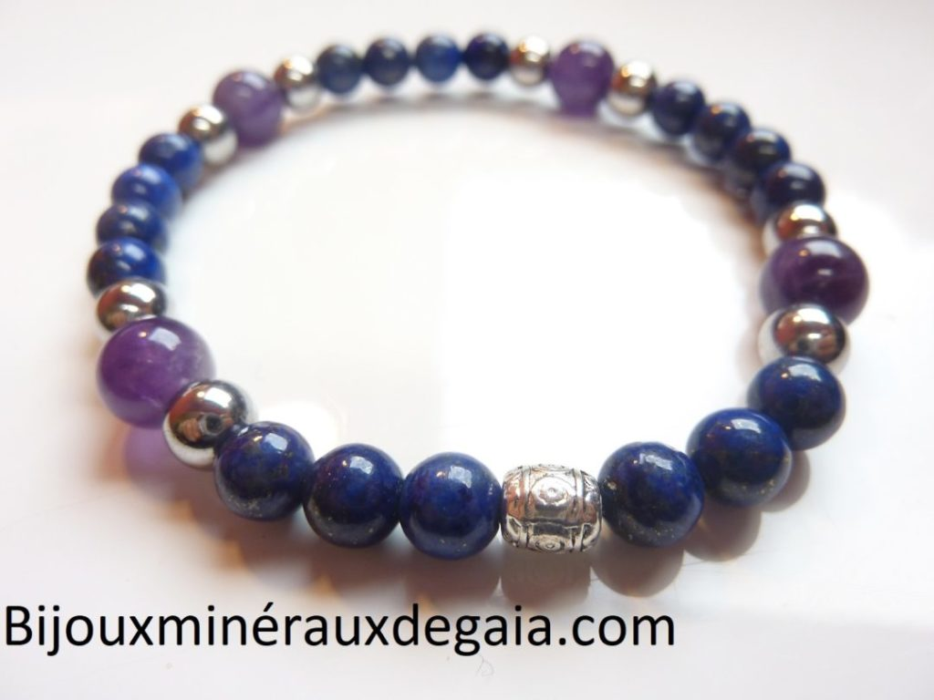Bracelet Améthyste-Lapis lazuli-Hématite perles rondes 8-6 mm