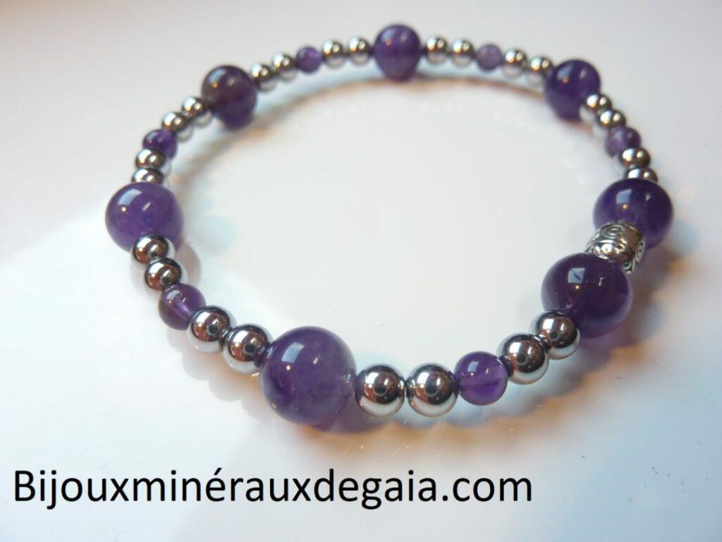 Bracelet Améthyste-Hématite perles rondes 8-4 mm