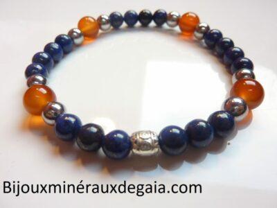 Bracelet Lapis lazuli-Hématite-Cornaline perles rondes 8-6 mm