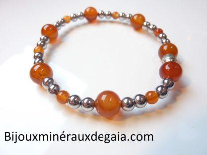 Bracelet Hématite-Cornaline perles rondes 8-4 mm