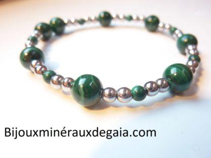 Bracelet Hématite-Malachite perles rondes 8-4 mm