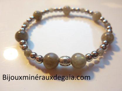 Bracelet Hématite-Labradorite perles rondes 8-4 mm