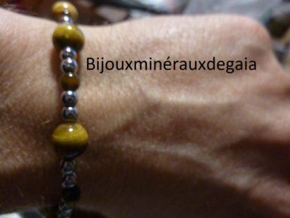 Bracelet Oeil de tigre-Hématite perles rondes 8-4 mm