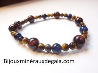 Bracelet Oeil de tigre-oeil de taureau-oeil de faucon Perles rondes 8-6-4 mm
