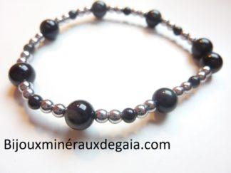 Bracelet obsidienne oeil céleste-Hématite perles rondes 8-4 mm