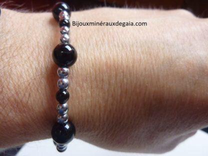 Bracelet Tourmaline noire-Hématite perles rondes 8-4 mm