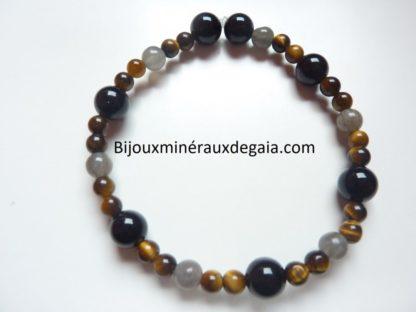 Bracelet Oeil de tigre-Tourmaline noire-Labradorite perles rondes 8-6-4 mm