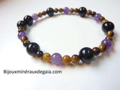 Bracelet Oeil de tigre-Tourmaline noire-Améthyste perles rondes 8-6-4 mm