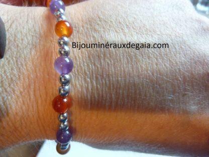 Bracelet Cornaline-Améthyste-Hématite perles rondes 6-4 mm