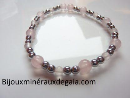 Bracelet Quartz rose-Hématite perles rondes 6-4 mm