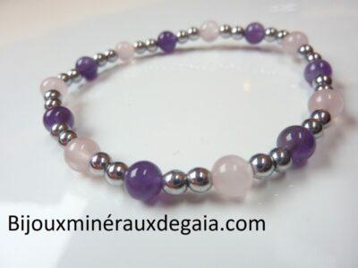 Bracelet Quartz rose-Améthyste-Hématite perles rondes 6-4 mm