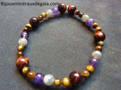 Bracelet Oeil de tigre-Labradorite-Oeil de taureau-Améthyste