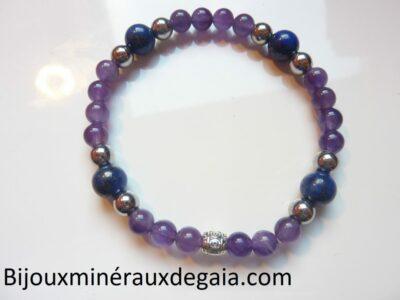 Bracelet Lapis lazuli-Améthyste-Hématite