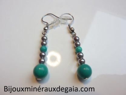Boucles d'oreillesTurquoise-Hématite perles rondes 7,5-4 mm
