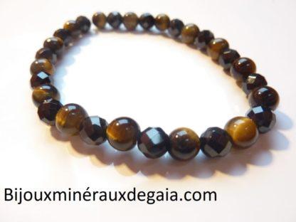 Bracelet Oeil de tigre-Spinelle noir à facettes perles 6 mm